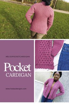 Crochet pocket cardigan pattern, the bliss pocket cardigan is a size inclusive design with bust measurements up to Easy to adapt to fit any size. Crochet Cardigan Pattern, Easy Crochet Patterns, Crochet Jacket, Crochet Ideas, Crochet Projects, Hdc Crochet, Crochet Wrist Warmers, Crochet Baby Booties, Crochet Fashion