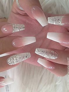 How to Do French Ombre Nails with Gel Polish – Stylish Belles How to Do French Ombre Nails with Gel Polish Cute French ombre gel nails with silver glitter design! Glitter French Nails, Silver Glitter Nails, Bling Acrylic Nails, Best Acrylic Nails, Cute Acrylic Nail Designs, Gel Nails, Pink Nails, Nails With Glitter Tips, Bride Nails