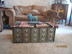 Mid Century Library Index Card Catalog Modern Storage File Cabinet Coffee Table