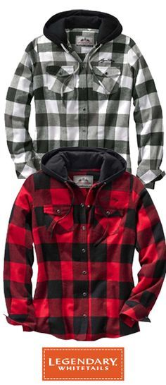 True classic plaid designs in medium weight soft brushed 100% cotton flannel.  Featuring a double layer jersey knit hood for style and extra warmth when needed.  Finished with pearl snaps and Legendary® script embroidery.