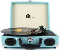 Belt-Drive 3 Speed Stereo Portable Turntable with Built in Speakers, Portable Turntable Supports RCA Output/ Headphone iPod/Mobile Phones Music Playback (Turquoise) Best Portable Record Player, Record Player Speakers, Record Players, Stereo Speakers, Bookshelf Speakers, Rockabilly Outfits, Usb, Vintage Vinyl Record Player, Shopping