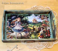 Wooden tray Alice in Wonderland home decor от MissDecoupage