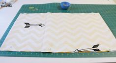 DIY Envelope Lumbar Pillow seam and pin at the happy housie - one piece of cloth for pillow