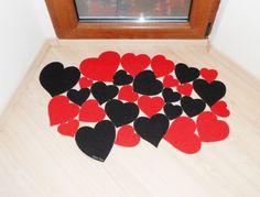 Hearts door mat. Lovely, modern and cool floor mat. Custom your doormat.