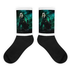 These socks are extra comfortable thanks to their cushioned bottom. The foot is black with artwork printed along the leg with crisp, bold colors that won't fade. Awesome Socks, Cool Socks, Green Hornet, Black Canary, Us Man, Bold Colors, Artwork Prints, Vivid Colors