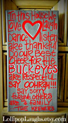 Ohio State Buckeyes In this house we hand painted sign on Etsy, $17.00 Change to Purdue!