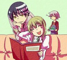 Death the Kid, Maka, Soul, funny, blushing, laughing, apron, photo album; Soul Eater