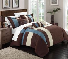 Chic Home Regina 7-Piece Plush Microsuede Comforter Set, Includes Bed in a Bag, 2-Sham and 4-Throw Pillow, Queen, Blue/Brown/Cream. #LuxBed #ChicHome #Bedding #Bedroom #Sherpa #Comforter