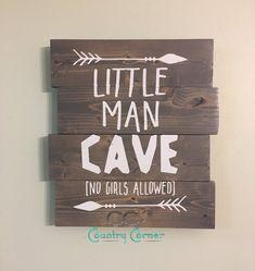 Little Man Cave Pallet Style Wood Sign