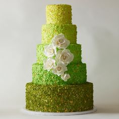 Beautiful Cake Pictures: Tiers of Shades of Green Colorful Cake - Colorful Cakes, Green Cakes, Wedding Cakes - Round Wedding Cakes, Wedding Cake Photos, Beautiful Cake Pictures, Beautiful Cakes, Amazing Cakes, Green Cake, New Cake, Colorful Cakes, Wedding Cake Inspiration