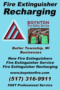 Fire Extinguisher Recharging Butler Township, MI (517) 316-9911 This is Boynton Fire Safety Service.  Call us Today for all your Fire Protection needs!Experts are standing by...