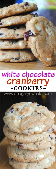 White Chocolate and Cranberry Cookies - Shugary Sweets (You Are My Favorite Cookie Recipes) Oreo Dessert, Cookie Desserts, Just Desserts, Cookie Recipes, Delicious Desserts, Dessert Recipes, Yummy Food, Holiday Baking, Christmas Baking