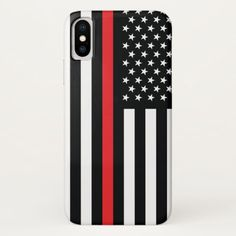 Firefighter Thin Red Line American Flag Fireman iPhone X Case   firefighter day, firefighter graduation gift, firefighter female #deplomentgifts #firefighter #fireservice Thin Red Line Flag, Firefighter Quotes, 4th Of July Party, Graduation Gifts, Plastic Case, Keep It Cleaner, American Flag, Apple Iphone