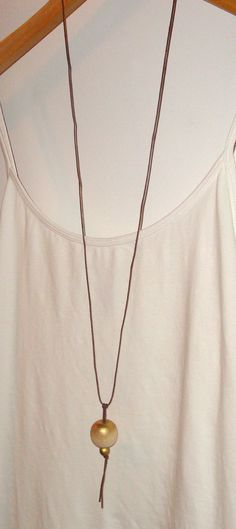 Gold wood bead necklace