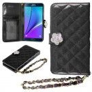 HHI Samsung Galaxy Note 5 Quilted Purse Wallet Case BLACK with Crystal Flower Bling and Hand Strap
