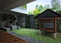 Desain Rumah Mewah luas 900m2 milik bu Hasan Jakarta Outdoor Laundry Rooms, My Design, House Design, Jakarta, Exterior Design, House Plans, Pergola, Villa, Bali