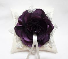 Purple wedding ring pillow deep purple satin and black tulle bloom and silver lace on Ivory lace ring pillow. $40.00, via Etsy.