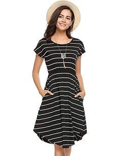 2d15f2c551a8d Halife Women Summer Elastic Waist Short Sleeve Midi Dress Casual Loose  Swing Dresses Black.#