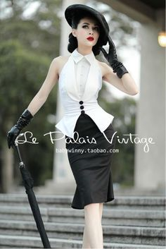 Le Palais Vintage 50's black and white elegant/ Halter fishtail skirt /Set