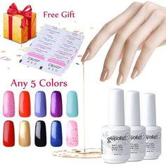 Elite99 Pick Any 5 Colors Soak Off Gel Nail Polish UV LED Color Nail Art Gift Set   20 PCS Free Remover Wraps -- You can get additional details at the image link.