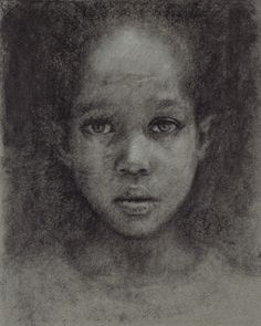 charcoal drawing, kid