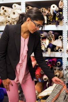 Pink with black blazer. Rachel Roy is always feminine yet professional.