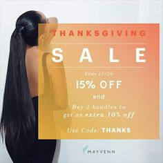 Thanksgiving is around the corner. Look good at the dinner table this season wearing Mayvenn ! Use 'THANKS' at checkout. #Thanksgiving #thankful #mayvennhair #bundles #virginhair www.tiffanymoore.mayvenn.com