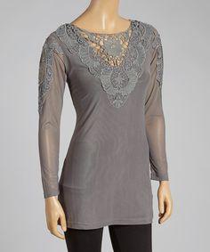 Gray #Crochet Linen-Blend Top by Pretty Angel  http://www.zulily.com/invite/jzabrowski188