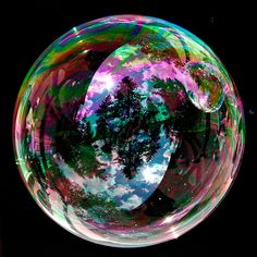 Bubble with cloud reflections