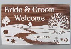輝かしい未来へ歩を進める新郎新婦の人生のスタートラインである「道」をテーマにしたウェルカムボード。 #景色 #ウェルカムボード #wood  #sign #wedding #landscape