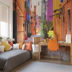 Colorful Venica alley • Contemporary - Office - Architecture and buildings - Wall Murals ✓ 365 Day Money Back Guarantee ✓ Consulting on the Pattern Selection ✓ 100% Safe✓ Set up online!