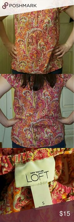 LOFT Blouse Multicolored shirt from Ann Taylor Loft. Pink orange yellow and brown. Scoop neck and sleeves have elastic. 100% cotton. Size small. LOFT Tops Blouses