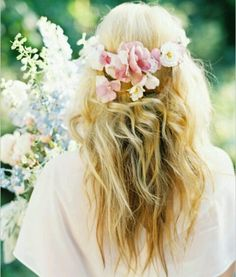 Blonde waves with a flower crown