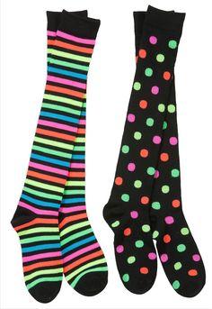 Like???  Neon Rainbow Dots and Stripe Over the Knee Mix & Match Socks