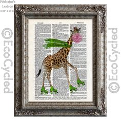 New to EcoCycled on Etsy: Giraffe Roller Skating on Vintage Upcycled Dictionary Art Print Book Art Print Blowing Bubble with Bubblegum Fun (10.00 USD)