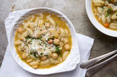 A meal in and of itself: full of lots of vegetables, chickpeas, and pasta.