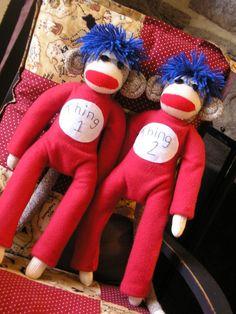 Thing 1 & Thing 2 Sock Monkeys!