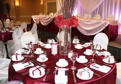 Pink and ruby wedding reception decor