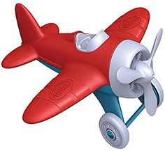 Green Toys Airplane - BPA Free, Phthalates Free, Red Aero Plane for Improving Aeronautical Knowledge of Children. Toys and Games Toys For Little Kids, Airplane Toys, Airplane Nursery, Airplane Party, Airplanes, Play Vehicles, Green Toys, Landing Gear, Racing Stripes
