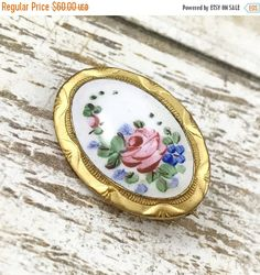 50% OFF SALE Antique Victorian guilloche brooch scatter pin oval brooch white blue and pink roses guilloche Pretty pink rose brooch. Late by TheOldJunkTrunk