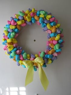 Easter peeps + toothpicks + wreath = fun wreath!  I would totally put a clear coat on mine though.