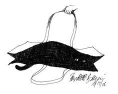 sketch of cat in bag