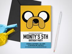 Adventure Time, Jake Printable Party Invite - Edit and print as many copies as you like / DIY Adventure Time printable party invitation by MontyandMeShop on Etsy