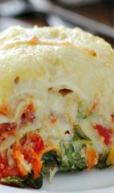 Veggie Alfredo Lasagna (made with Cauliflower Alfredo Sauce)