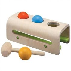 Plan Toys Hammer Balls are sure to be a hit with your little one. Give your toddler a creative outlet for all that energy with this wooden pounding bench. A great gift for a one year old! Shop Our Green House for more natural and eco-friendly baby toys!