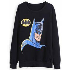 Black Long Sleeve Batman Print Sweatshirt