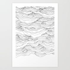 Pen on paper, inspired by the rhythm of waves.<br/> <br/> ocean, line drawing, pen...