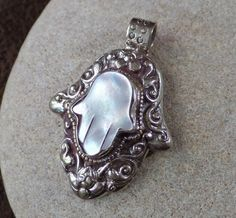 White Mother of Pearl Hamsa Pendant Made in by AquaTerraBazaar