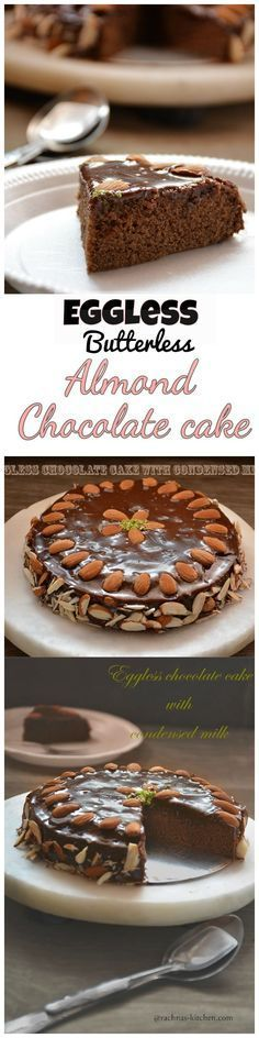 Eggless chocolate cake | Eggless cake with condensed milk This eggless almond chocolate cake is rich, dense and moist in texture. You can prepare it on any occasion. I hope you like it.