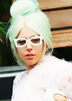 Lady Gaga with pastel green - mint sherbet hair